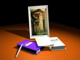 Books and photo frame 3d model