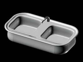 Double bowls kitchen sink 3d model