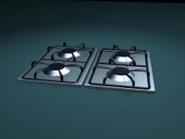 Four burner gas stove top 3d model
