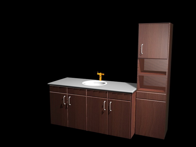 Good Kitchen Cabinet And Sink Combo #10: Kitchen Cabinet And Sink Combination 3d Model