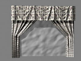 Floral curtains and valances 3d model