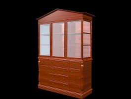 Antique display cabinet with drawers 3d model