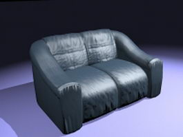 Navy blue loveseat 3d model
