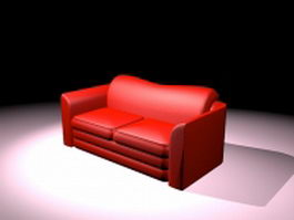 Red leather loveseat 3d model