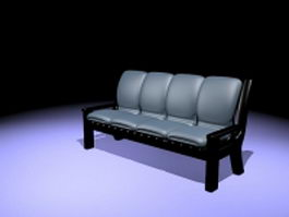 Upholstered settee benches 3d model