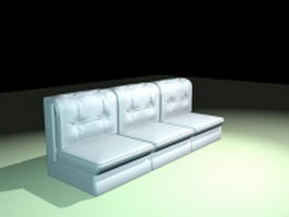 Armless settee sofa 3d model