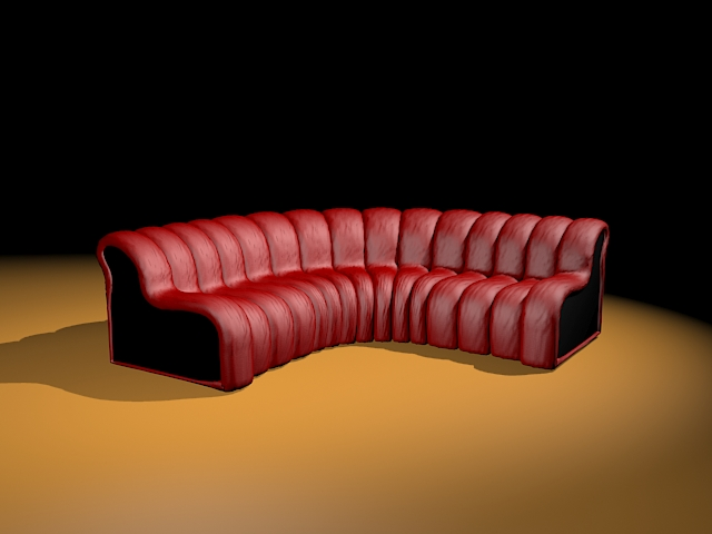 Red curved sectional sofa 3d model 3ds max files free download ...