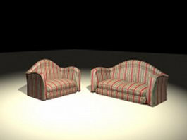 Striped sofa set 3d model
