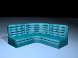 Blue leather corner sofa 3d model