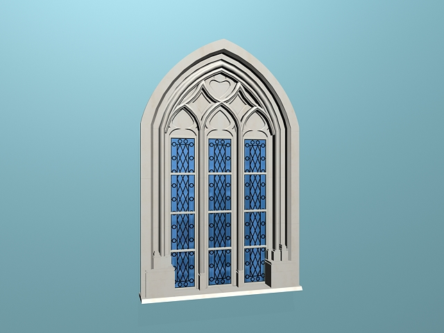 Gothic style windows 3d model 3ds max files free download for Window 3d model
