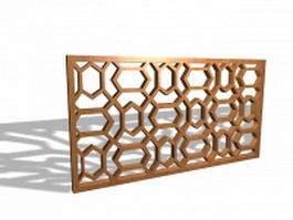 Decorative wood lattice panel 3d model