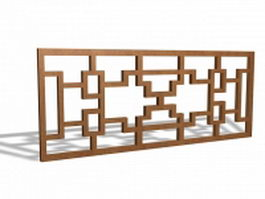 Wood lattice panel trellis 3d model