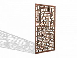 Wood lattice screen panel 3d model