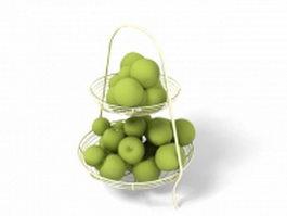 Green plums in basket 3d model