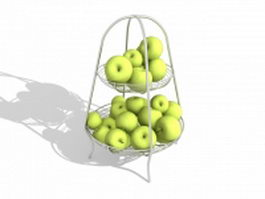 Two tier fruit basket with plums 3d model