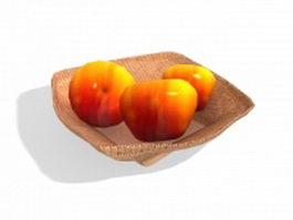 Apples in wicker basket 3d model
