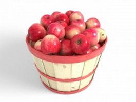 Wooden basket of apples 3d model