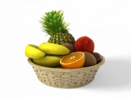 Fruits in woven basket 3d model