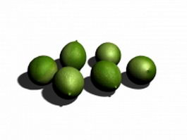 Green lime fruit 3d model