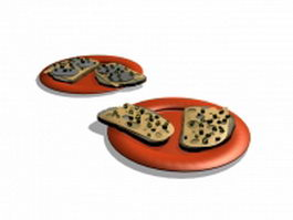 Pizza on plate 3d model