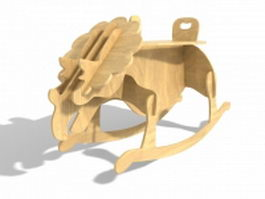Wooden rocking dinosaur 3d model