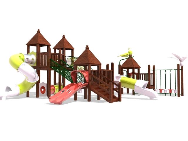 Wooden Toddler Outdoor Play Equipment 3D Model