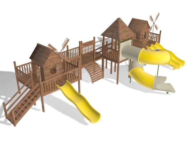 Outdoor playhouse with slides 3d rendering