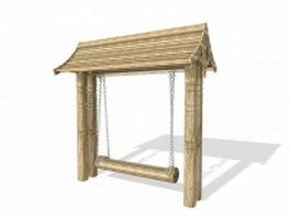 Vintage wooden swing 3d model