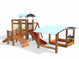 Wooden playground set 3d model