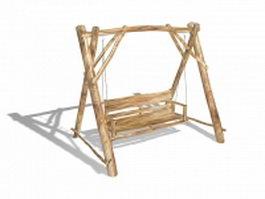 Rustic log swing 3d model