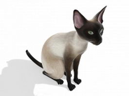 White cat sitting 3d model