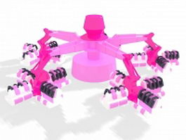 Flying scooters amusement ride 3d model