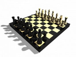 Wooden chess set 3d preview