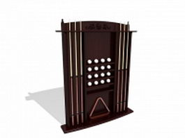 Billiards cue rack 3d model