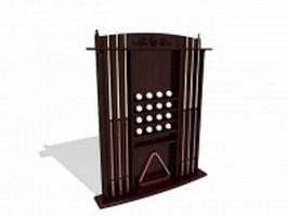 Billiards cue rack 3d model