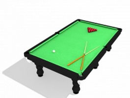 Pool table with billiards 3d model