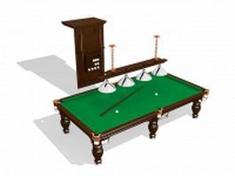 Pool table with accessories 3d model