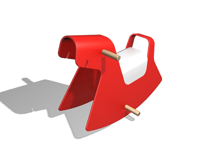 Red rocking horse 3d rendering