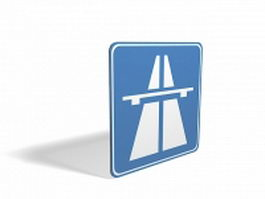 Highway information sign 3d model