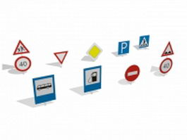 Traffic signs and symbols 3d model