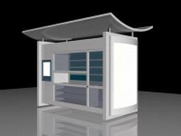 Modern bus shelter 3d model