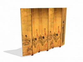 Antique Chinese folding screen 3d model