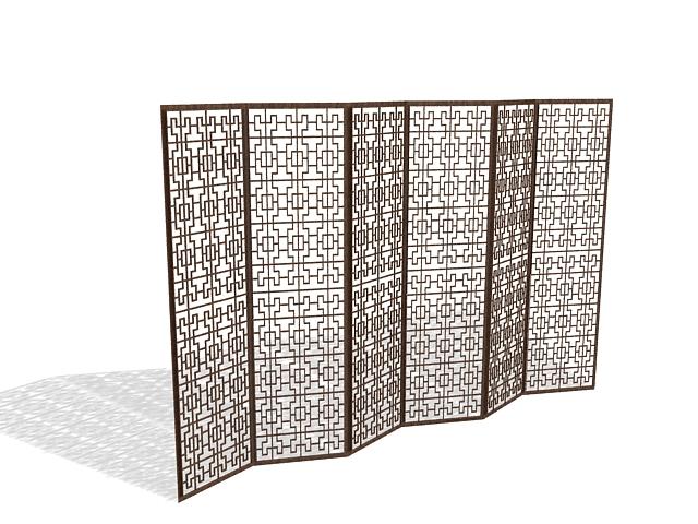 Lattice Room Divider Screen 3d Model
