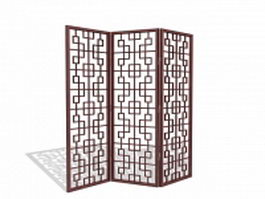 Latticework folding screen 3d model