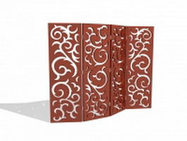 Wood room divider screens 3d preview