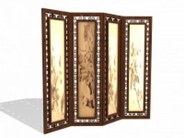 Antique Chinese screens room divider 3d model