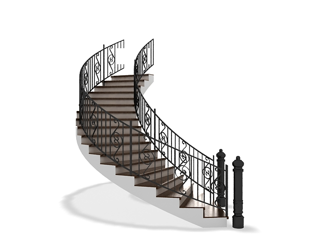 Curved stair with wrought iron railing 3d model 3ds max ...