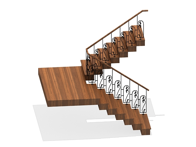 U Shaped Wooden Staircase 3d Model 3ds Max Files Free