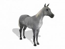 Silver grey horse 3d model