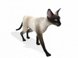 White cat walking 3d model